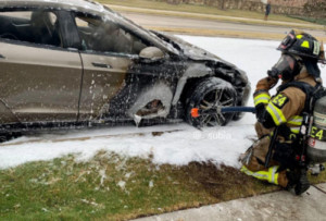 Park halında olan Tesla Model S yandı